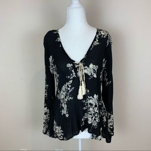 Lovestitch Black Boho Floral Print Tassel Top Sz S